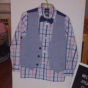4 pc IZOD boys shirt, vest & bowtie size 6